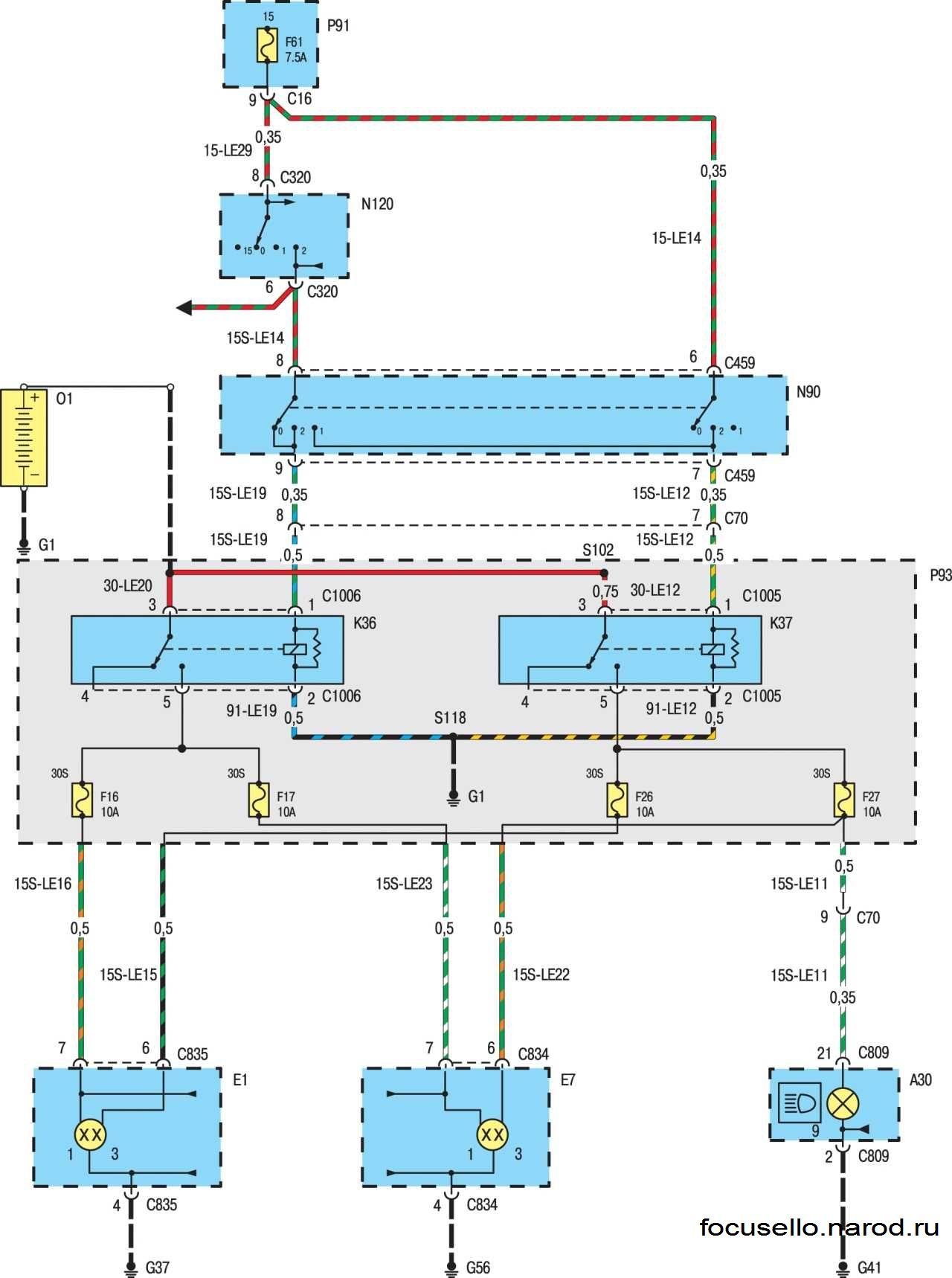 схема электрическая головного света форд-фокус2